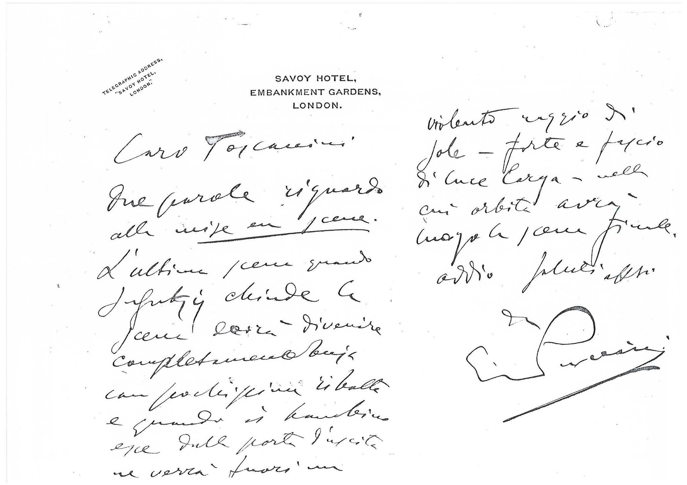lettera a Toscanini